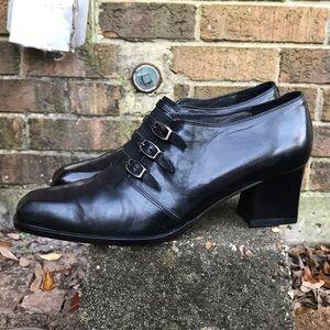 Vintage 90s Black Leather Ankle Boots Sz 7.5